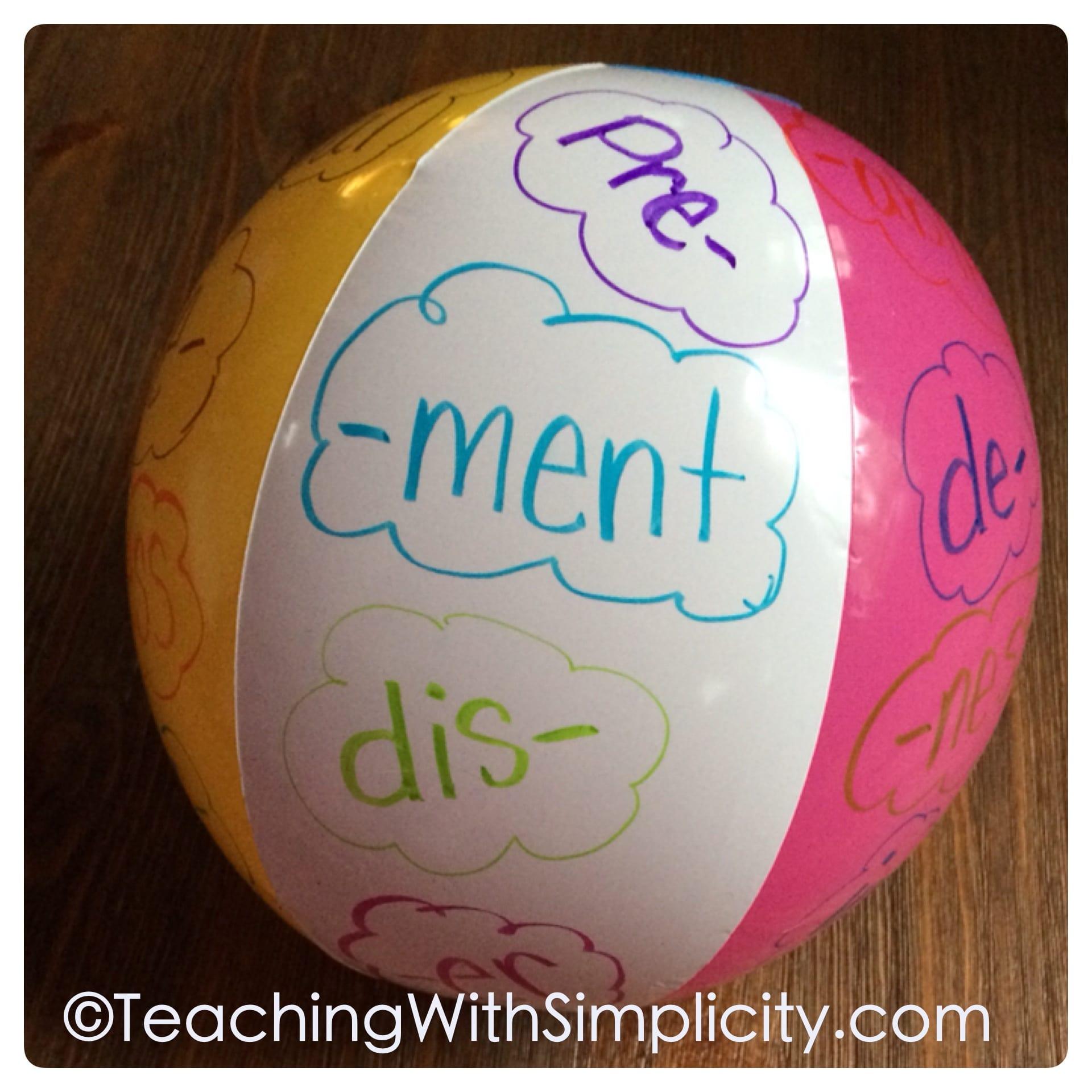 Beach ball suffixes and prefixes