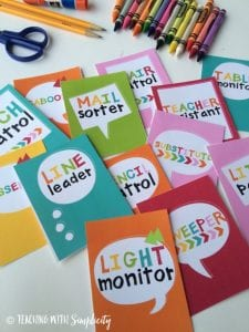 Classroom jobs in colorful paper squares