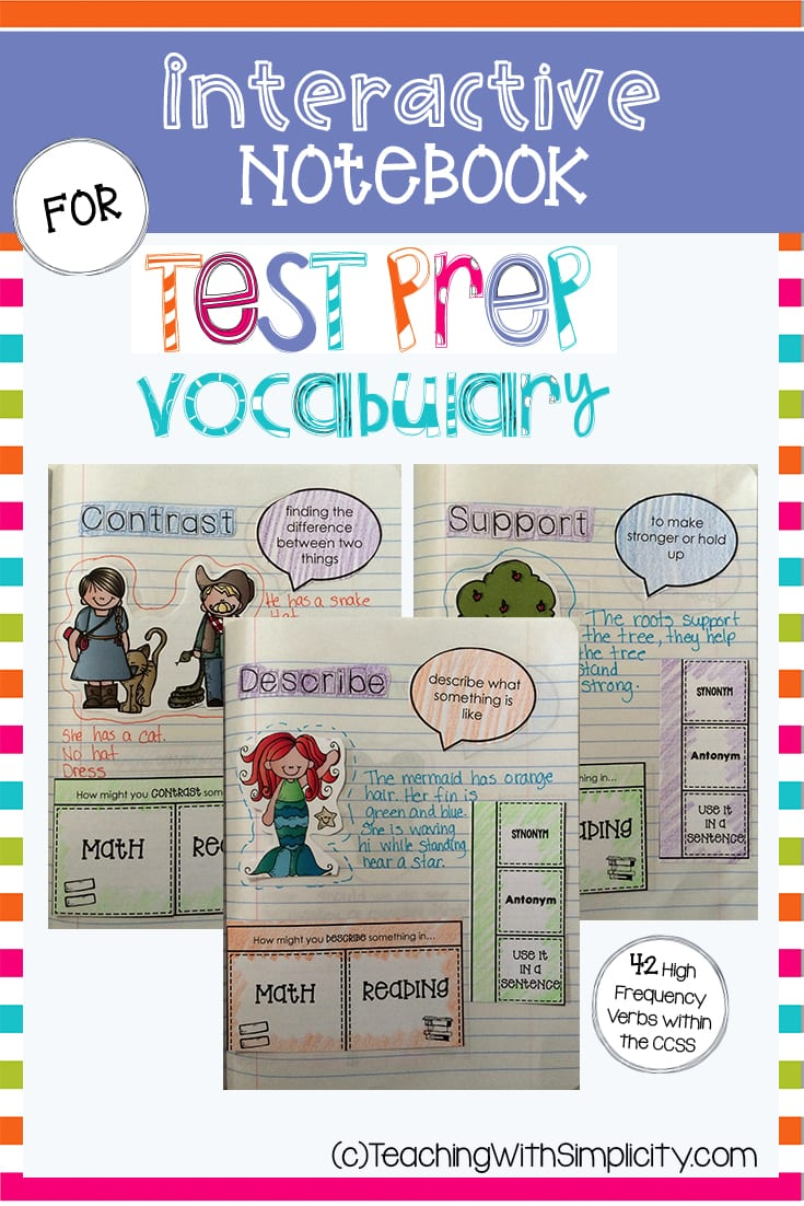 , Interactive Notebook for Test Prep Vocabulary