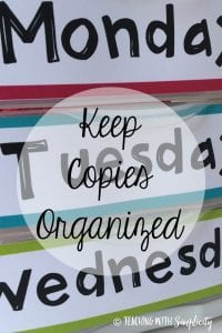 keep copies organized in cursive letters