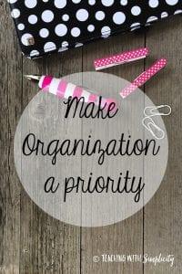 Make organization a priority in cursive