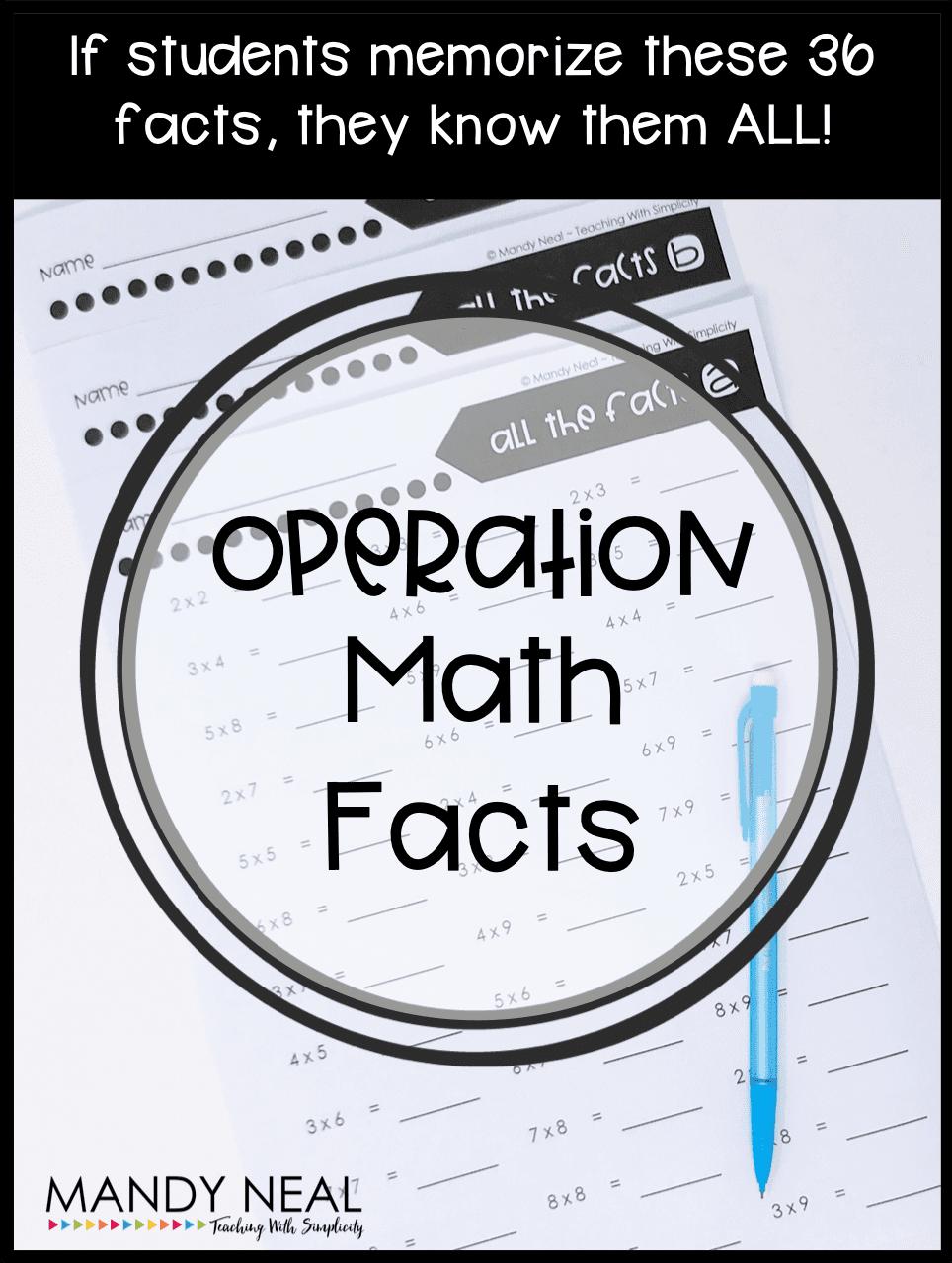 , Operation Math Facts