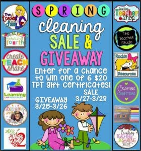 Spring cleaning in bright letters and cartoon children