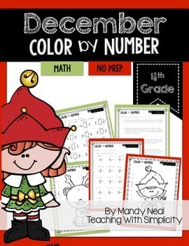 color by number 4th grade