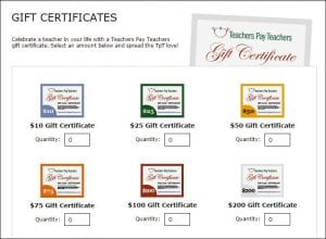 Gift certificate from teachers pay teachers