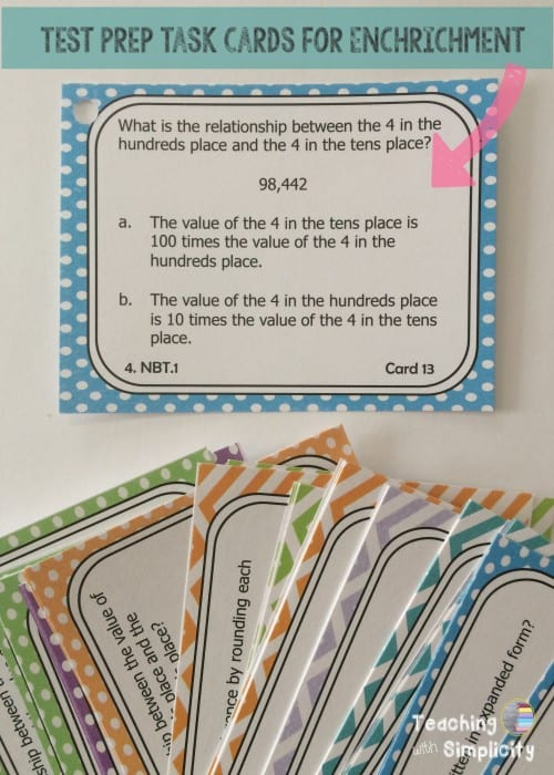 test prep task cards for enrichment