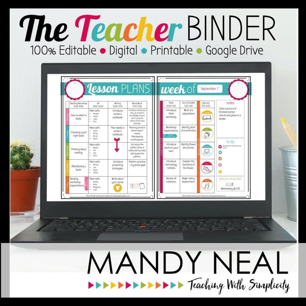 Editable Teacher Binder - online educational resources for teaching